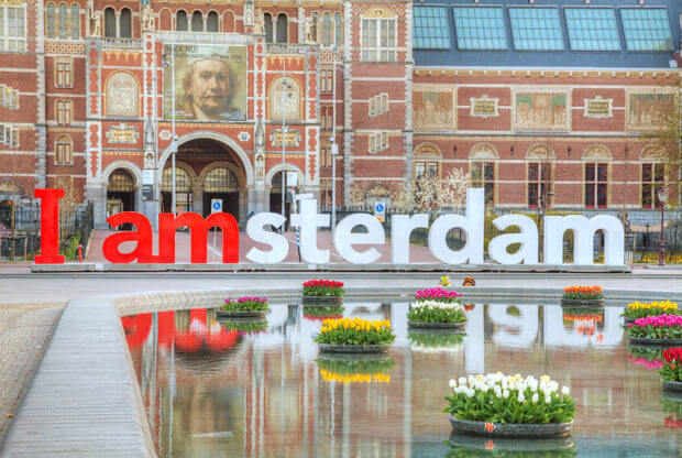 The front of the Rijksmuseum museum